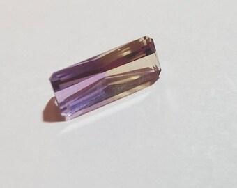 New Markdown! Emerald Cut Ametrine Loose Gemstone, 15x6mm 3.13ct, Step Cut Bi Color Quartz