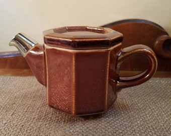 """Vintage Hall 1 cup Brown Teapot  4"""" Tall, Made in USA, 1960's - Brown Teapot with Chrome Spout - 8 sided Teapot - Octagonal Teapot #2979"""