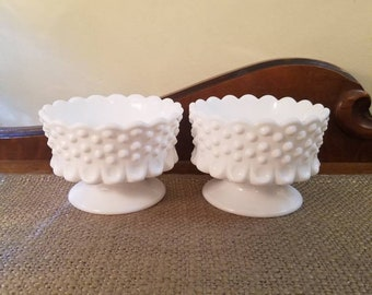 """Fenton Glass Milk Glass Footed Candlestick Holder Set, Fenton Hobnail, 2 3/4"""" Tall - Milk Glass Hobnail - Vintage Candle, Wedding Decor"""