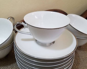 Vintage Kessington Wedding Band Footed Teacup and Saucer (Set of 5 with 3 extra Saucers!)