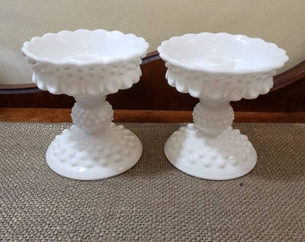 """Fenton Glass Hobnail Milk Glass Candlestick Holder Set  with Petite Candle Epergne - 5.5"""" Tall - Milk Glass Hobnail - Fenton #3974/#3671"""