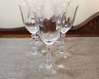 "Wilma Clear by Fostoria Crystal Stemware 7 5/8"",  Set of 5 Crystal Water Goblet Glasses, Vintage Glass, Crystal Wedding Decor Stem 6016"