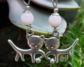 Handmade Gemstone Dangle Cat and Yarn Earrings, Semiprecious, Choose Metal + Gem, Stainless Steel, Labradorite, Jade Hematite Lava