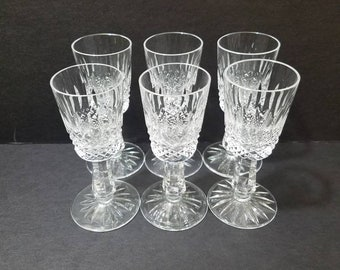 """Vintage Galway Crystal Claddagh Cordial Glasses 4 1/8"""" Tall, Set of 6"""