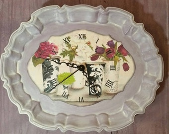 Unique Wall Clock made from Vintage Upcycled Silverplate Tray Clock in Light Purple