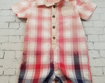 Kids Bleached Short Sleeve Cotton Romper 6-12 Months, Red, White and Blue Plaid - Bleached One Piece Grunge Boho