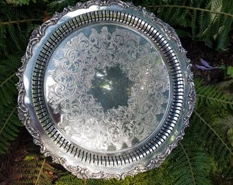 REDUCED!!! Large Vintage  Silverplate Tray with cutouts - Community Ascot 0308-4 - Stunning Reticulated Edge Silverplate Tray
