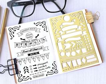 Planner Stencil, Bullet Journal Stencil, Banner and Flag Stencil - fits pocket, passport and field  note (Banner S)