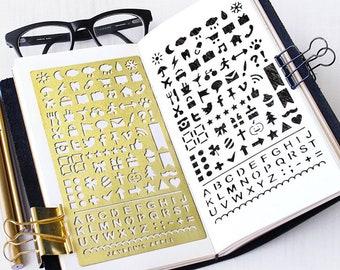 Bullet Journal Stencil, Planner Stencil, Useful Icons Stencil - fits A5 journal & Midori Regular (Useful L)