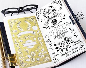 Planner Stencil, Bullet Journal Stencil, Wreath and Flowers Stencil - fits A5 journal & Midori Regular (Wreath L)