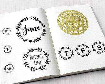 Bullet Journal Stencil, Brass Wreath Stencil, Journal Stencil, Metal Wreaths Stencil (Circle Wreath)