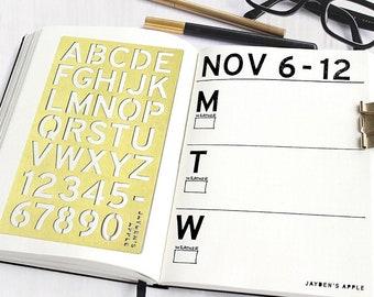 "Bullet Journal Stencil, Planner Stencil, Capital Letter Alphabet Stencil, Capital Letter Stencil - 4x7"" (Alphabet L)"