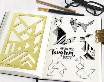 Bullet Journal Stencil, Planner Stencil, Brass Stencil, Tangram Stencil - fits A5 journal & Midori Regular (Tangram L)