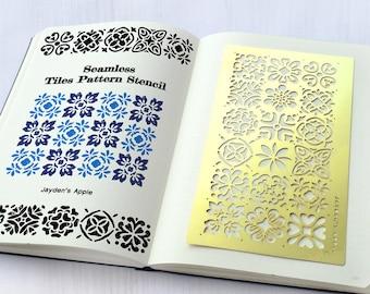 Bullet Journal Stencil, Tiles Pattern Stencil, Planner Stencil - fits A5 journal & Midori Regular (Tiles-L)