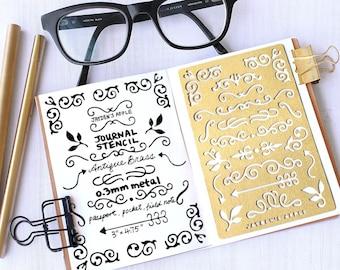 Planner Stencil, Bullet Journal Stencil, Ornament Stencil - fits pocket, passport and field  note (Ornament S)