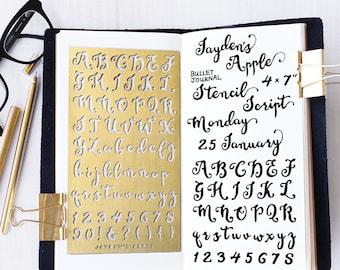 Planner Stencil, Bullet Journal Stencil, Script Alphabet Stencil, Script Letter Stencil - fits A5 journal & Midori Regular (Script L)
