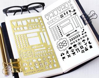 Bullet Journal Stencil, ECLP Planner Stencil, Stencil for Erin Condren Life Planner - fits ECLP, A5 journal & Midori Regular (ECLP L)