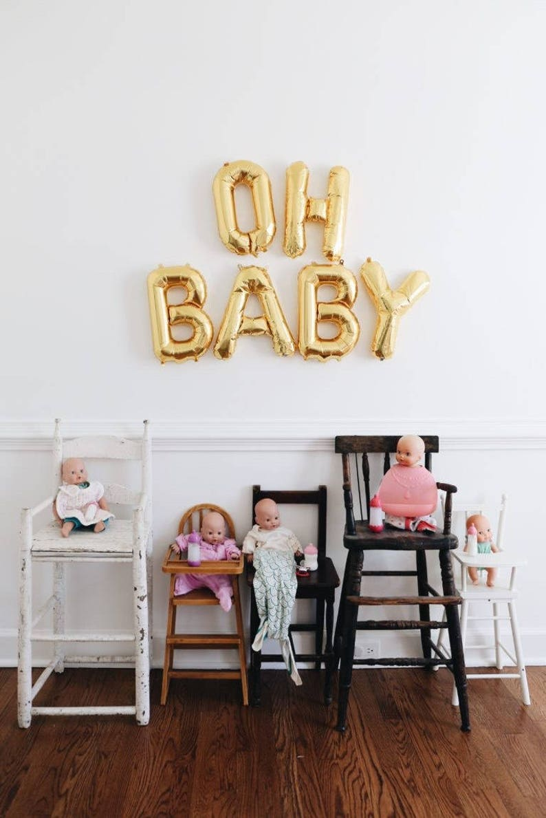 Gender Reveal Banner Gender Reveal Balloons Oh Baby Party Decor Oh Baby Balloons Baby Shower Decor Oh Baby Letter Balloons
