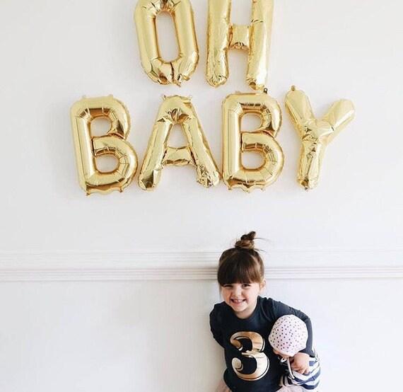 Baby Shower Letter Balloons.Oh Baby Letter Balloons Oh Baby Party Decor Baby Shower Decor Oh Baby Balloons Gender Reveal Banner 16 Gold Mylar Letter Balloons