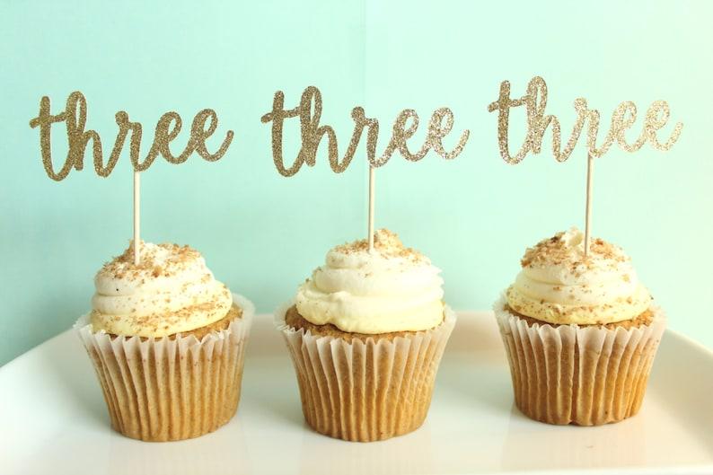 Three Cupcake Toppers Third Birthday