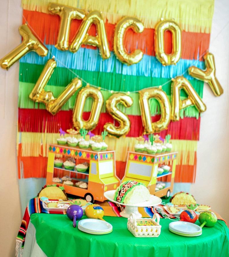 Taco Twosday Letter Balloons Party Decor