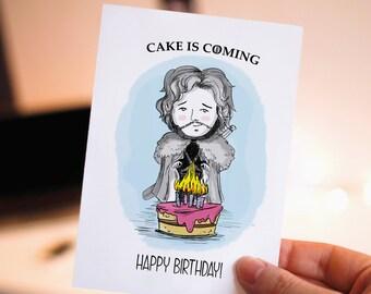 Funny Happy Birthday Printable Card Game Of Thrones Jon Cute Cards Cake Snow