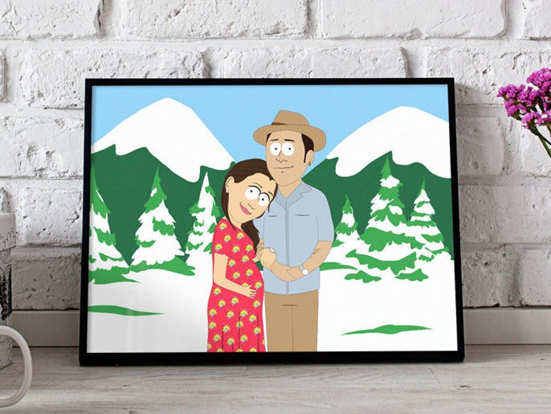 South Park Christmas.Family Portrait South Park Style Christmas Custom Cartoon Personalized Caricature Ask For A Different Style King Of The Daria Etc