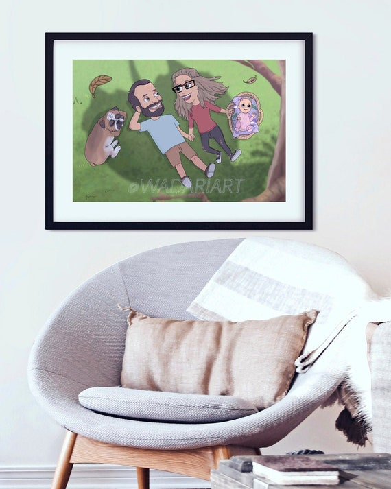 Cartoon Caricature Custom Big Mouth Caricature BIG MOUTH PORTRAIT Personalised Family Gifts Cartoon Portrait Big Mouth Gift