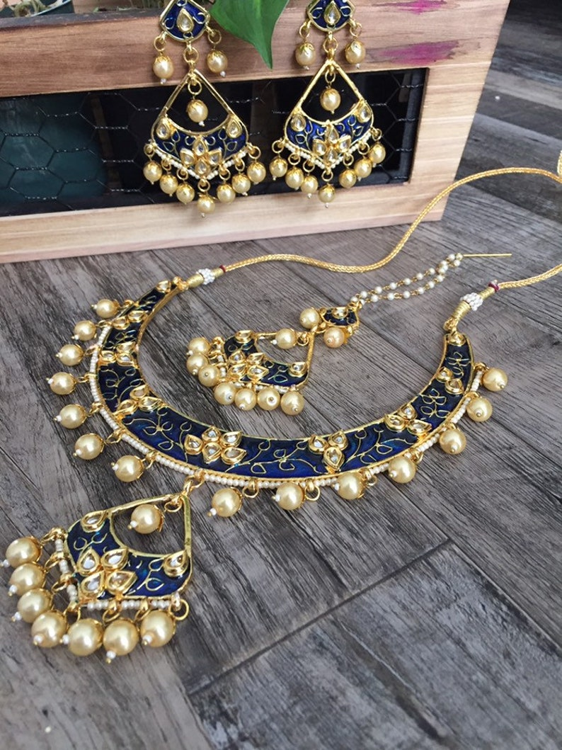 Marchioness gold Bollywood Pearl and Crystal Rhinestone Kundan Indian Jewelry Polki Earrings and Necklace Multilayer Set kundan Jewelry