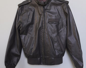 Vintage 80's Member's Only Gray Genuine Leather Jacket Bomber Size 38