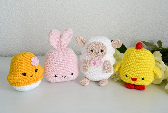 Crochet Easter Decorations Bunny Sheep Egg And Chick Etsy