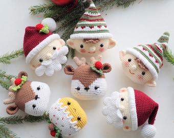 Crochet Christmas decoration: Elf, Santa, Reindeer and Cupcake, Pattern, English, Amigurumi, Christmas, Decor