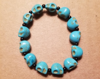 Turquoise Skull and Black Beaded Bracelet
