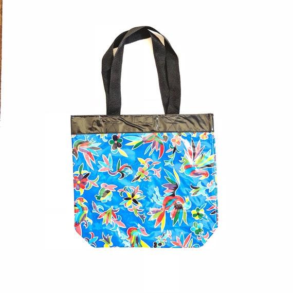 tulip oil cloth oil cloth Red tulip print mexican oil cloth bag tote reusable bag shopping bag