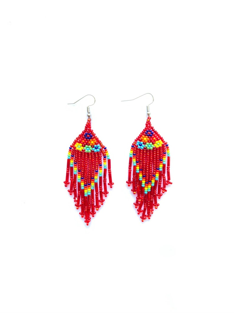 Huichol earrings Mexican earrings huichol jewelry Mexican doll earrings