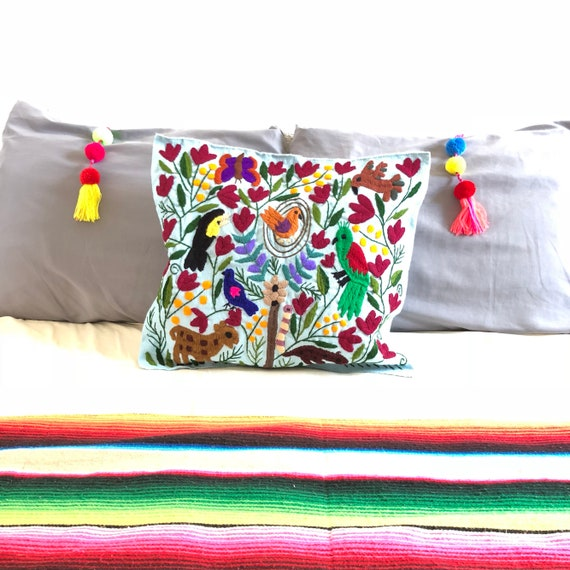 Mexican embroidered pillow pillow case