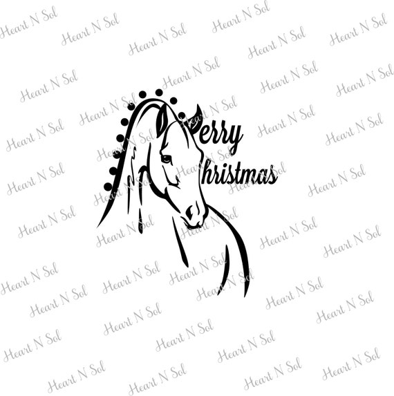 Christmas Horse Drawing.Christmas Christmas Horse Merry Christmas Svg Eps Dxf Digital File Instant Download Silhouette Cricut