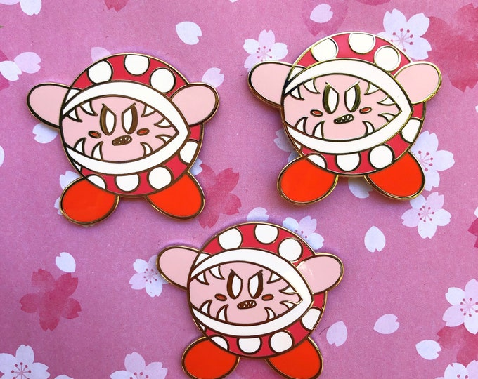 Piranha plant Kirby enamel pin