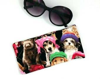 ae3e85f92cb0 Dog print quilted sunglasses case glasses pouch eyeglasses case sunglass  storage fabric glasses case quilted phone case cute dog lover gift