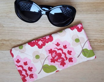 Glasses case sunglasses case sunglasses pouch floral glasses case quilted glasses case glasses slip case cute gift floral gift retro style