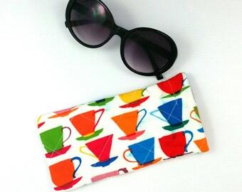 Teacup glasses case, sunglasses pouch sunglasses case quilted glasses pouch glasses case colourful teacups sunglasses case cute gift on sale