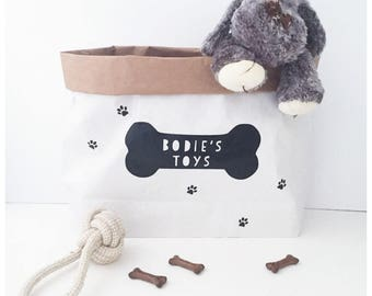Dog toy storage, doggy bag, dog toys.