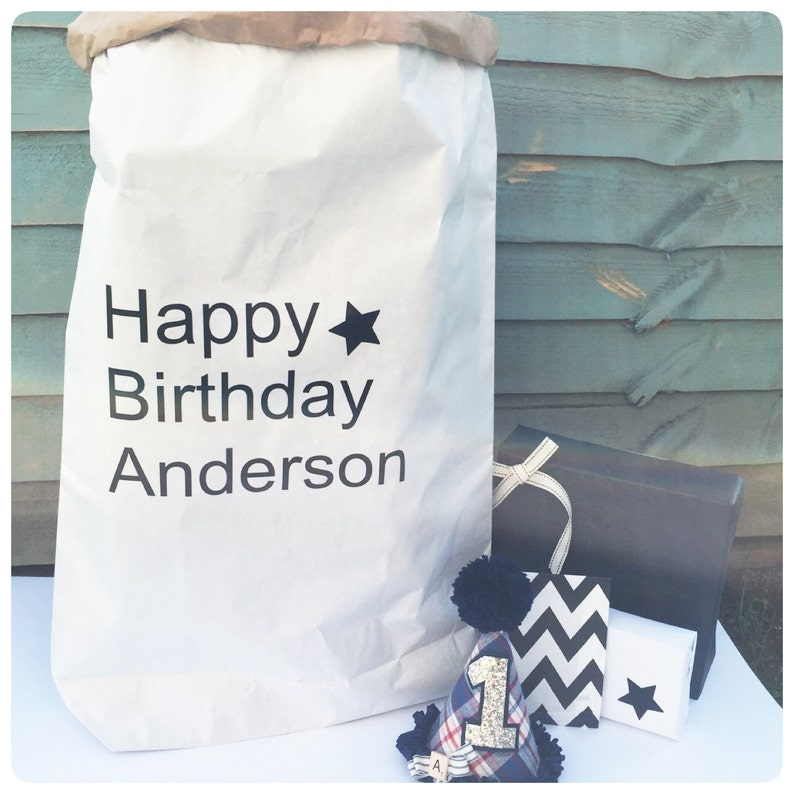 Birthday Present Sack Gift Personalised Bag Contemporary Kids Babies