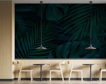 Monstera, palm trees, tropical foliage Adhesive tapestry fine canvas texture, Top quality painted ecological ink