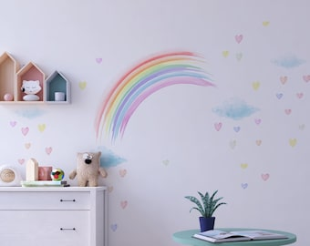 Sticker Wall clouds, hearts and rainbow coral, yellow, aqua