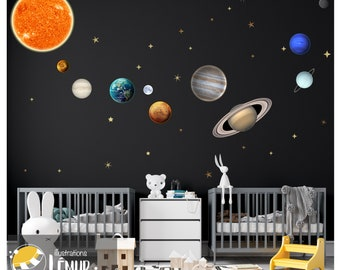 Planets, moon and stars, solar system wall sticker