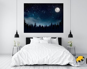 Starry sky and full moon with small fog and firs. Fine texture wall of self-stick canvas in frame or window format!