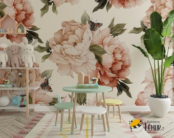 Giant peony tapestry adhesive fine canvas texture, Top quality wallpaper printed ecological ink
