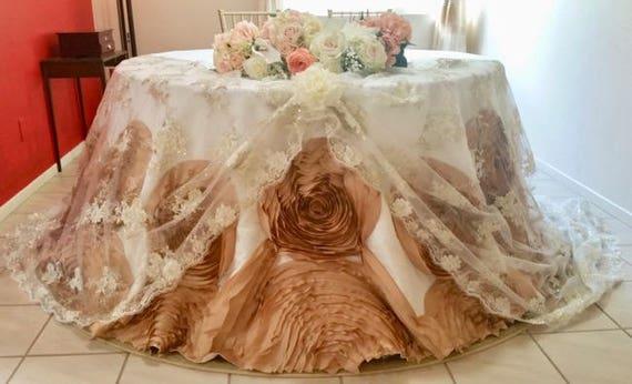 Cinderella Mocha Rosette Tablecloth Large Rosette