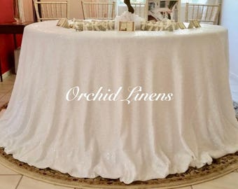White Sequin Tablecloth